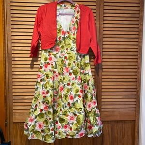 Talbots flowery dress with shoulder cover